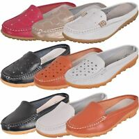 Ladies Slip on Leather Loafer Mules Backless Casual Slider Flats Moccasins Shoes