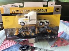 ERTL 1/64 SCALE JOHN DEERE SEMI Truck Backhoe Loader Lowboy Trailer 45353 New