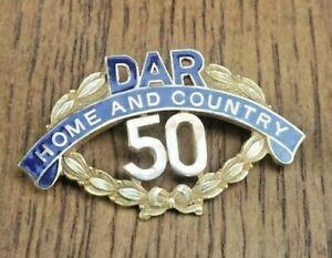 Daughters Of The American Revolution 50 Year Membership Medal Gold Fill Pin DAR