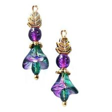 Earrings, Petite Czech glass lily flower purple teal gold, clip on or pierced