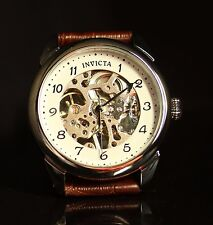 Invicta Mens Vintage Specialty Skeletonized Mechanical Hand-Wind Leather Watch