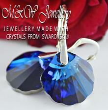 925 STERLING SILVER EARRINGS CRYSTALS FROM SWAROVSKI® 16MM SHELL - BERMUDA BLUE