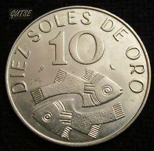 PERU, 10 SOLES 1969, STYLIZED FISH, UNCIRCULATED.
