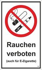 Rauchen verboten ( auch für E-Zigarette ) 250 x 150 mm Warn- Hinweis- und Verbot