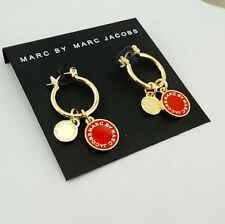 Marc by Marc Jacobs Gold Small Round Hoop Earrings w/Deep Red Enamel Logo Charms