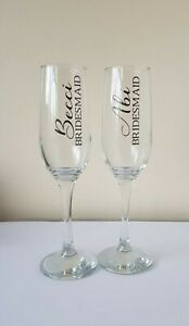 PERSONALISED WEDDING DAY CHAMPAGNE GLASS NAME BRIDE BRIDESMAID MAID OF HONOUR