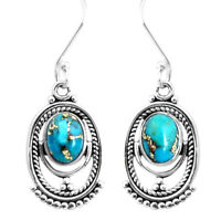 4.18cts Blue Copper Turquoise 925 Sterling Silver Dangle Earrings Jewelry P39293