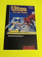 ULTIMA THE FALSE PROPHET Instruction Booklet Manual Original SNES SUPER NINTENDO