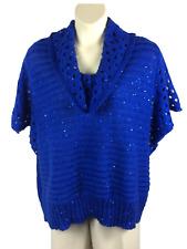 Womens Roz & Ali Blue Cowl Neck Sweater Plus Size 3X Blue Sequins Short Dolman
