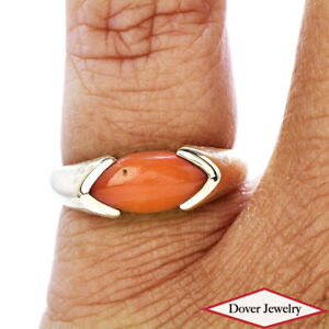 Estate Coral 14K Yellow Gold Lovely Solitaire Ring NR
