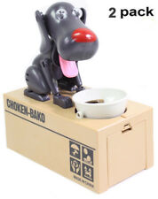 2 PK Choken-Bako Coin Bank Saving Box Puppy Hungry Robotic Dog Money Collection