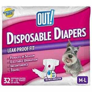 Disposable Female Dog Diapers  Absorbent Leak Protection Medium/Large, 32 Count
