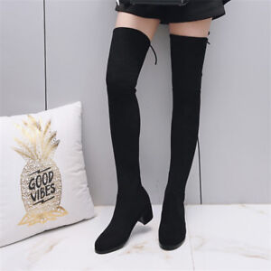 Womens Solid Warm Cow Suede Over The Knee Long Boots Thigh High Casual Shoes