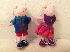 Boy & Girl Pig Plush~Petticoat Doll Company~Sri Lanka~Handcrafted by Nangi~6.5""
