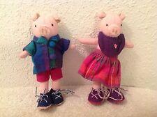 "Boy & Girl Pig Plush~Petticoat Doll Company~Sri Lanka~Handcrafted by Nangi~6.5"""