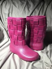 CROCS Woven Women's Pink Iridescent Shimmer Rain Boots Size 9 W Weave