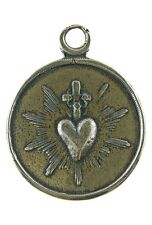 Lovely SACRED HEART / IMMACULATE HEART Medal, bronze from 19th c French original