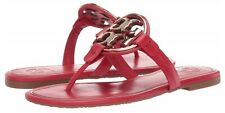 NEW $228 TORY BURCH 6 Miller Soft Red Leather Golden T-Logo Flat SHOES SANDAL