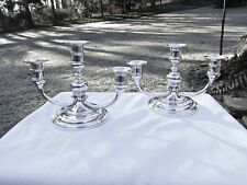 PAIR TIFFANY & CO. ART DECO STERLING SILVER 3 LIGHT CANDELABRAS,GREAT FORM/STYLE