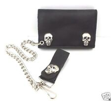 Leather Trifold Chain Wallet Skull Snaps Black Biker Trucker Rocker USA Made NWT