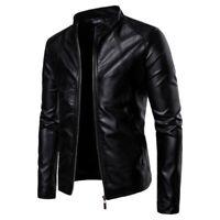 Men's Stand collar Leather Jacket Outwear Long sleeve Slim fit Biker Fashion