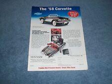 Franklin Mint 1958 Corvette 1:43 Die-Cast Vintage Ad -----From 1999----
