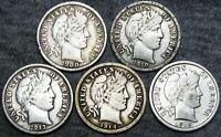 1900-S +1910 +1913 +1914 +1916 Barber Dimes Silver --- NICE LOT --- #A147
