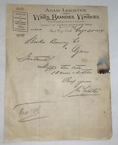 pre prohibition BECKER BEER ORDER PARK CITY LIQUOR DEALER UTAH 1894