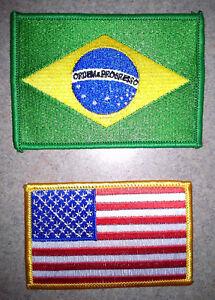 NEW! United States US or Brazil Brazilian Flag Patch - Brasil Jiu Jitsu MMA UFC