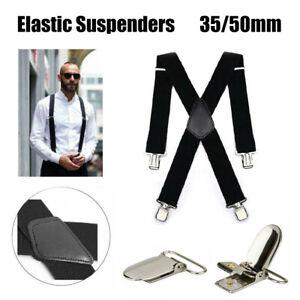 35/50mm Extra Wide Men's Adjustable Elastic Suspenders Clip On Braces Trouser