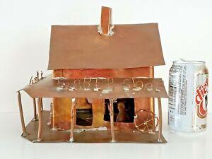 "Vintage Folk Art Diorama Metal Copper ""Barber Shop"" Building Bird House HandMade"