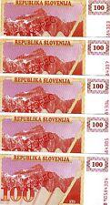 LOT SPECIMEN, Slovenia, 5 x 100 (Tolarjev), 1990, P-6s1, UNC