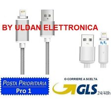 CAVO DATI RICARICA FILO MAGNETICO PER IPHONE 5 5S 5C SE 6 6S 7 8 PLUS X SILVER
