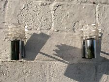 Pair Vintage Raak Mid Century Modern Wall Sconce Lamp Clear Glass  Era Eames