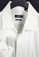 HUGO BOSS Mens White Green Striped L/S Dress Shirt 17-36 Regular Fit