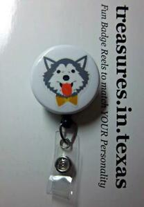 Gray and White HUSKY with Gold Bow   Retractable Reel ID Badge U pick Reel