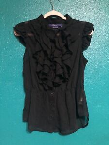 Miley Cyrus Max Azria Junior's Size XL Black Short Sleeve Ruffle Blouse Buttons