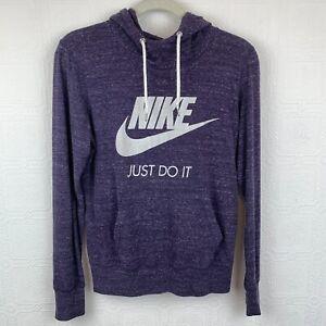 Nike Womens Hoodie Medium Long Sleeve Purple Pocket Thin Hooded Sweatshirt A414