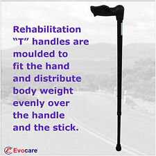 WALKING STICK Aluminium LEFT-HANDED REHAB adjustable, NEW weight rated