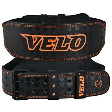 "VELO Weight Lifting Belt 4"" Leather Back Support Training Fitness Power Gym Pain"