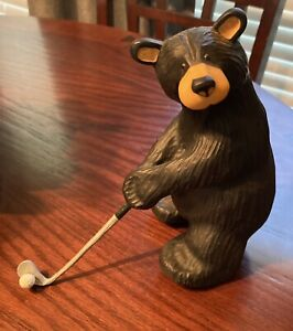 """Jeff Fleming Collection- Bearfoots Bear  """"Tiger""""  The Golfer Figurine #100/0065"""