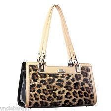 Serenade Jaguar Print Genuine Leather Handbag (H54G-9877)