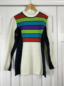 Obermeyer Womens Wool Blend Striped Rainbow Ski Sweater Pullover Color block M