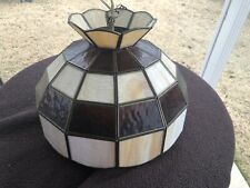 VINTAGE Large TIFFANY STYLE Stained Leaded Glass Hanging Light Lamp