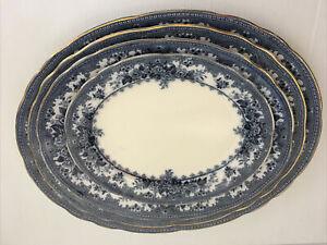Colwyn Keeling & Co Late Mayer 19th C Flow Blue & White Platter Set Transferware