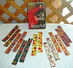 "BOOKMARKS~""AUTUMN"" Or ""FALL""~Set Of 2~Fabric & Button~Reversible~Washable~NEW"