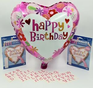 """5 x 18"""" Personalised Name Happy Birthday Foil Helium Party Balloon job lot"""