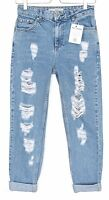 Topshop MOM High Waisted RIPPED FRAYED Blue Tapered Crop Jeans Size 16 W34 L32