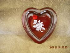 VINTAGEBEAUTIFUL RUBY RED WESTMORELAND FROSTED GLASS HEART SHAPED DISH