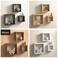 3 Cube Floating Wall Shelf Shelves Space Storage Black / White / Oak / Grey